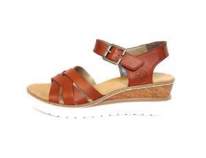 Sandaal van Rieker in cognackleurig leder, sleehakje van 3 cm, F1/2 breedte (normale breedte maar met iets meer ruimte aan de bal van de voet) - €64.95