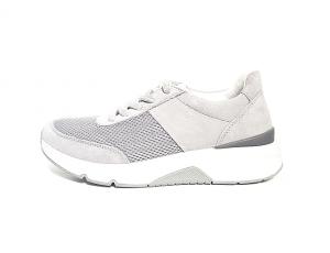 Lage sneaker van Rollingsoft in een combinatie van grijze daim met grijze textiel, vetersluiting, uitneembare binnenzool, F-breedte (normaal) - €99.90
