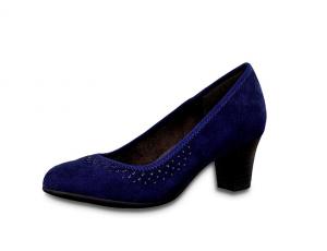 Blauwe pump van Jana Softline, H-breedte (extra breed), hakje van 4 cm