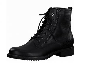 Tamaris enkellaarsje in zwart leder, veter én rits (rits aan de binnenzijde, de rits aan de buitenzijde is enkel decoratief, NIET functioneel), zacht voetbed - €99.95 -30%