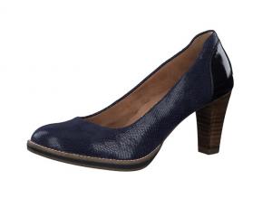 """Tamaris pump op een fijne hak van 6 cm, kobaltblauw leer met structuur, zacht """"Touch It"""" voetbed in leer - €69.95"""