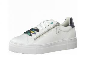 Lage sneaker van Tamaris in wit leder, sluiting met veter én rits, zacht voetbed, zeer licht en comfortabel - €69.95