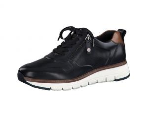 Tamaris lage sneaker in blauw leder, uitneembare binnenzool, veter én rits, zeer soepel - €99.95