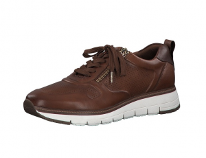 Tamaris lage sneaker in cognackleurig leder, uitneembare binnenzool, veter én rits, zeer soepel - €99.95