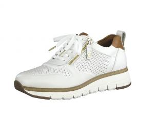 Tamaris lage sneaker in wit leder, uitneembare binnenzool, veter én rits, zeer soepel - €99.95
