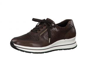Tamaris lage sneaker in donkerbruin leder, deels met croco print, uitneembare binnenzool, veter én rits - €99.95