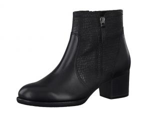 Tamaris enkellaarsje in zwart leder, blokhak van 3 cm, zacht voetbed, ritssluiting aan de binnenzijde (rits aan de buitenzijde is enkel decoratie) - €89.95
