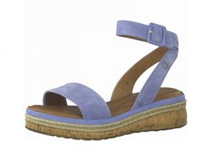 Sandaal van Tamaris in lichtblauwe daim, sluiting met gespje, zacht voetbed met lederen binnenzool - €69.95