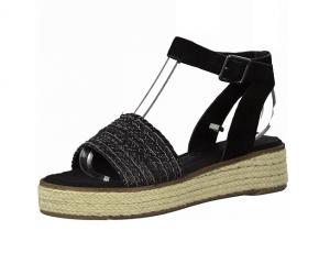 Sandaal van Tamaris in een combinatie van zwarte daim met zwarte textiel, zacht voetbed, lederen binnenzool, sluiting met gesp - €59.95