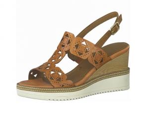 Sandaal van Tamaris in nut leder, sleehak van 7,5 cm, zacht voetbed, sluiting met gespje - €69.95