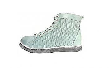Andrea Conti hoge sneaker in muntgroen leder, uitneembare binnenzool, sluiting met veter én rits, zeer soepel - €89.95