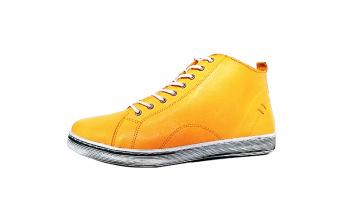 Andrea Conti halfhoge sneaker in okergeel leder, sluiting met veter én rits, uitneembare binnenzool - €79.95