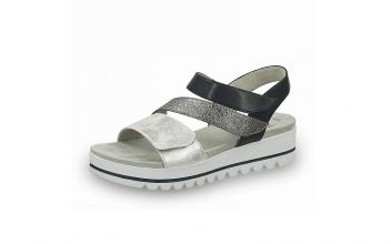Sandaal van Jana Softline op een iets dikkere zool, aanpasbaar met velcro op 3 banden, zacht voetbed, H-breedte (extra breed) - €49.95