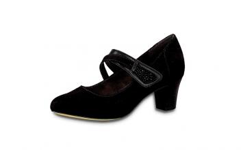 Zwarte schoen van Jana Softline met band over de wreef, velcrosluiting, H-breedte (extra breed), hakje van 4 cm - €49.95