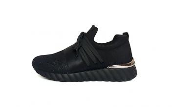 Remonte slip-on sneaker in zwarte textiel, uitneembaar voetbed, F1/2 breedte (normale breedte maar iets meer ruimte aan de bal van de voet) - €64.95