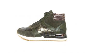 Hoge sneaker van Remonte in een combinatie van kaki leder met kaki daim en accenten in brons, uitneembare binnenzool, sluiting met veter én rits, F1/2 breedte (normale breedte maar met iets meer ruimte aan de bal van de voet) - €79.95