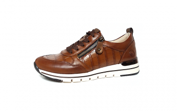 Lage sneaker van Remonte in cognackleurig leder, sluiting met veter én rits, uitneembaar voetbed, G-breedte (breed), drysport voering - €79.95