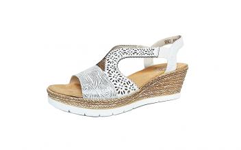 Rieker sandaal op een sleehak van 5 cm, wit met zilveren print en kristallen, F1/2 breedte (normale breedte, maar iets breder aan de bal van de voet) - €59.95