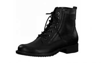 Tamaris enkellaarsje in zwart leder, veter én rits (rits aan de binnenzijde, de rits aan de buitenzijde is enkel decoratief, NIET functioneel), zacht voetbed - €99.95