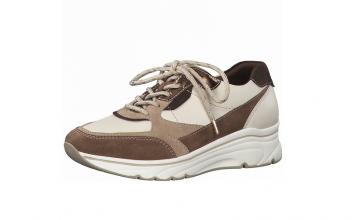 Lage sneaker van Tamaris in een combinatie van crèmekleurig leder met daim in beige en bruine tinten, vetersluiting, uitneembare binnenzool, Pure Relax model - €99.95