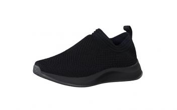 Slip-on sneaker van Fashletics by Tamaris, zwarte textiel (mesh), uitneembare binnenzool, ultralicht en 100% comfort - €49.95