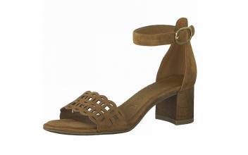Sandaal van Tamaris in cognac daim, blokhakje 4 cm, zacht voetbed met lederen binnenzool - €69.95