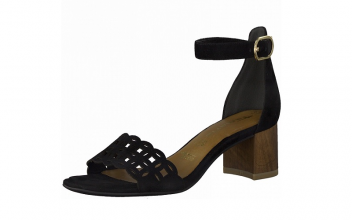 Sandaal van Tamaris in zwarte daim, blokhakje 4 cm, zacht voetbed met lederen binnenzool - €69.95