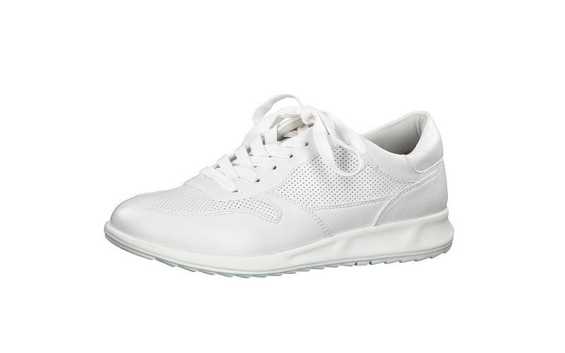 Tamaris lage sneaker op een soepele zool, wit imitatieleer gedeeltelijk met perforaties, uitneembare binnenzool - €49.95