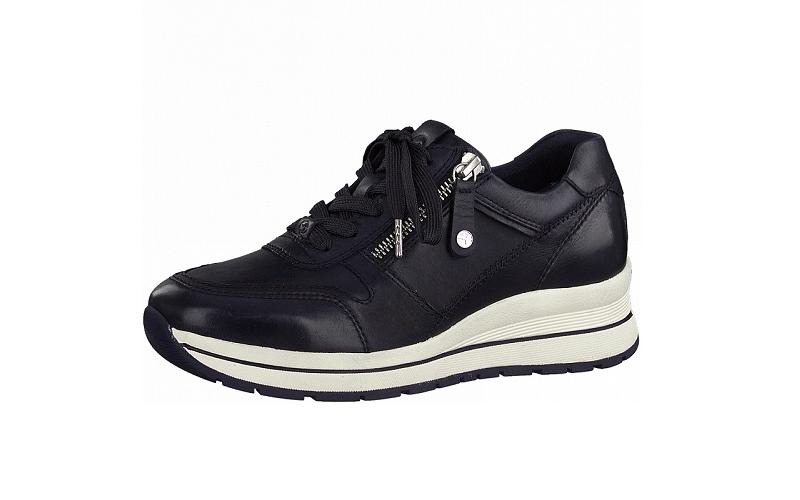 Lage sneaker van Tamaris in donkerblauw leder, uitneembare binnenzool, sluiting met veter én rits - €99.95