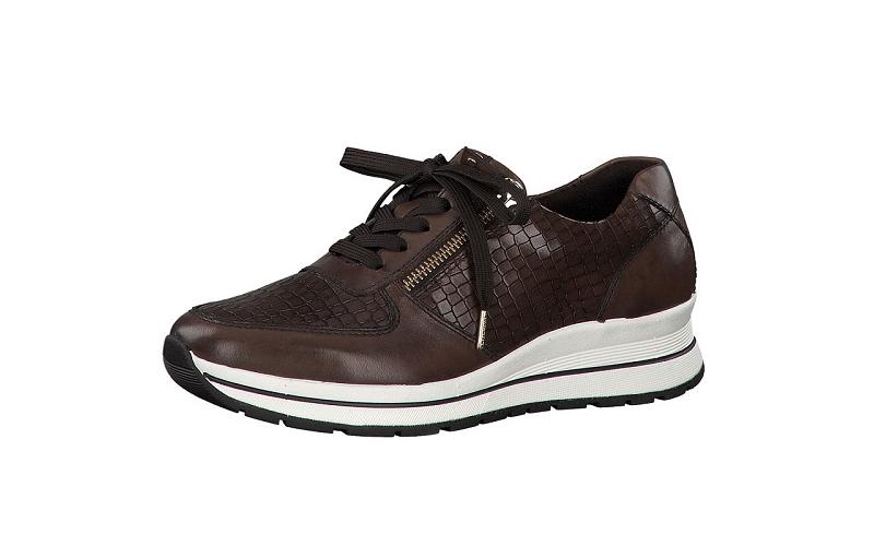 Tamaris lage sneaker in donkerbruin leder, deels met croco print, uitneembare binnenzool, veter én rits - €99.95 -20%