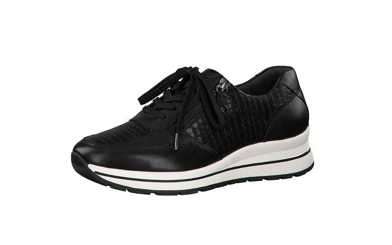 Tamaris lage sneaker in zwart leder, deels met croco print, uitneembare binnenzool, veter én rits - €99.95