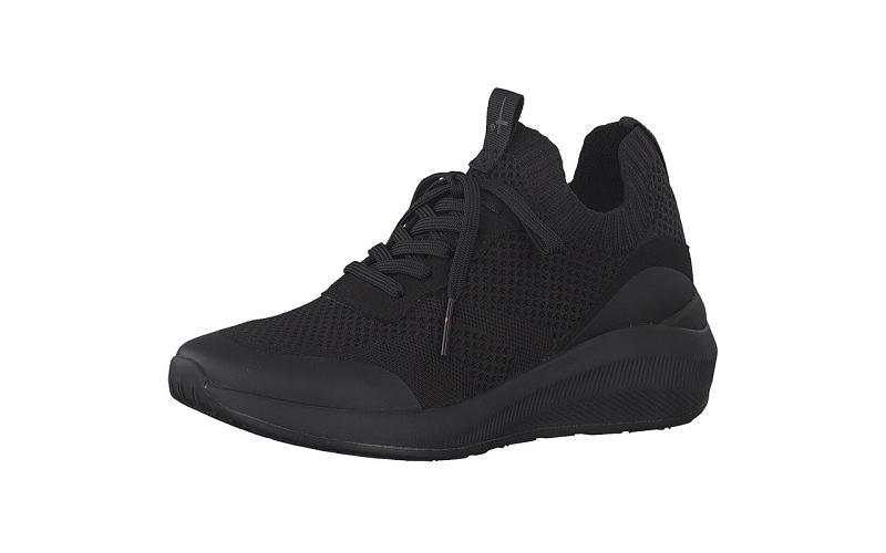 Tamaris sneaker in zwarte textiel, uitneembare binnenzool, sleehak van 3 cm, zeer licht en comfortabel - €69.95