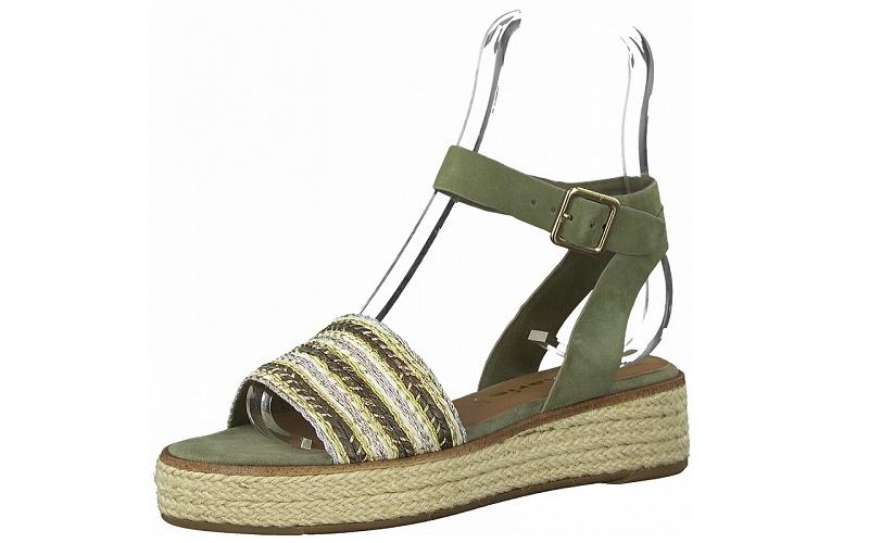 Sandaal van Tamaris in pistache groene daim, zacht voetbed met lederen binnenzool - €59.95