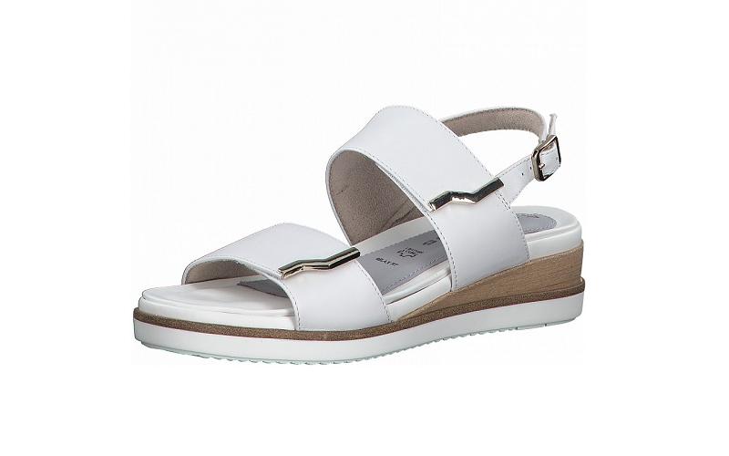 Sandaal van Tamaris in wit leder, sleehak van 3 cm, 1 gesp en 2 velcro sluitingen, uitneembaar lederen voetbed, zacht voetbed - €79.95