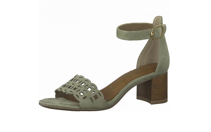 """Sandaaltje van Tamaris in licht olijfgroene daim, blokhakje van 4 cm, zacht """"touch it"""" voetbed met lederen binnenzool, sluiting met gespje - €69.95"""