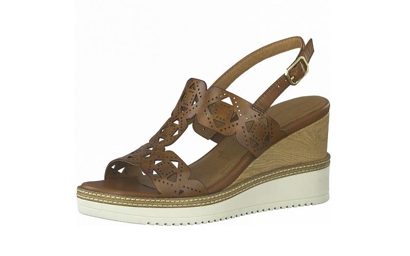 Elegante sandaal van Tamaris in cognackleurig leder, stabiele sleehak van 7,5 cm, zacht voetbed met lederen binnenzool - €69.95