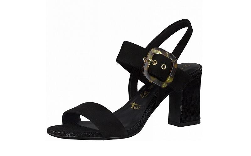Elegante sandaal van Tamaris in zwarte daim, fijne stabiele blokhak van 7,5 cm, zacht voetbed, lederen binnenzool - €59.95